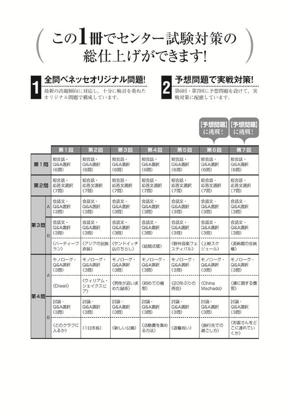 2019進研[センター試験]直前演習 英語(リスニング)30minutes×7(問題冊子・解答バラ版)「出題構成」