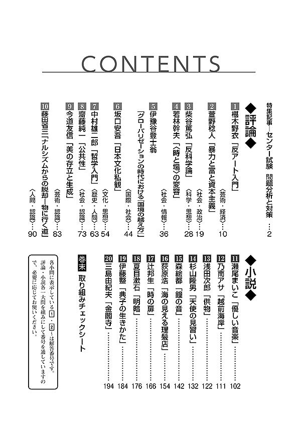 2019進研[センター試験]対策国語 重要問題演習 現代文:冊子版「目次」