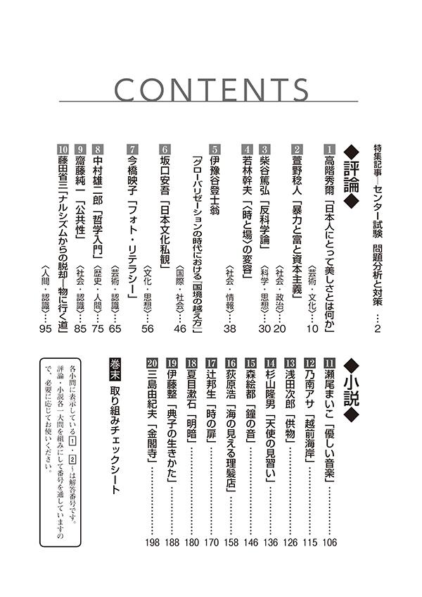 2020進研[センター試験]対策国語 重要問題演習 現代文:冊子版「目次」