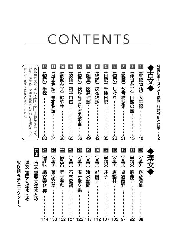 2019進研[センター試験]対策国語 重要問題演習 古典:冊子版「目次」