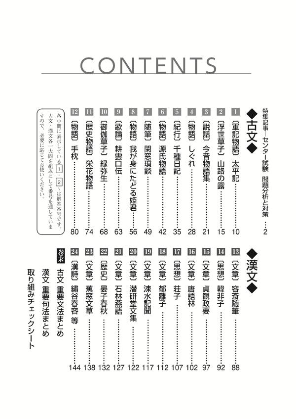 2020進研[センター試験]対策国語 重要問題演習 古典:冊子版「目次」